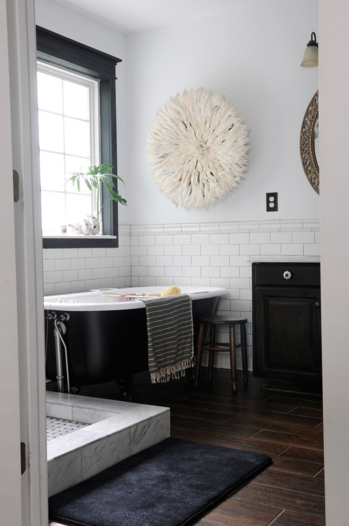 Black Hex Bathroom Tile | Through the Front Door