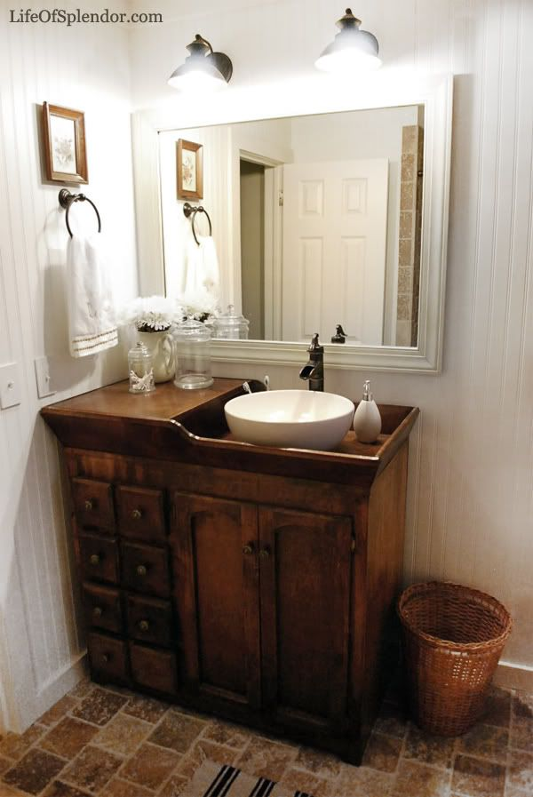 Lovely  dark wood dry sink vanity