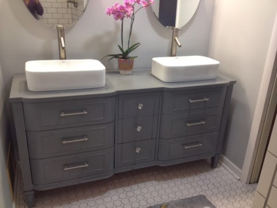 gray-dresser-turned-double-vanity-chic