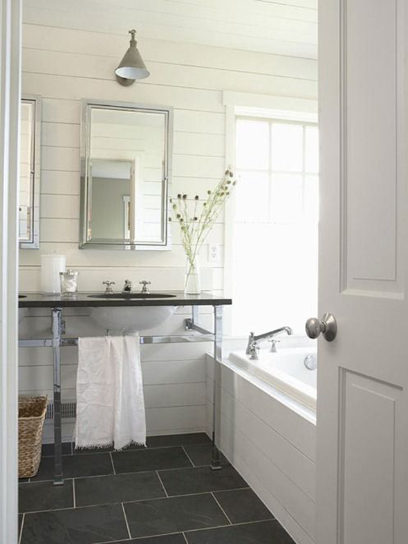 white plank walls bathroom gray tile