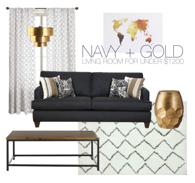 Budget Friendly Gold Navy Living Room Through The Front Door